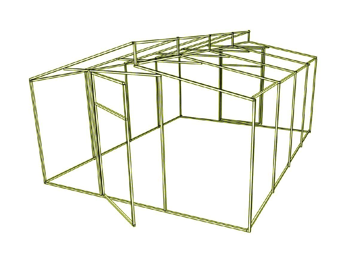 Дод. секція на каркас теплиці Мітлайдера (без полікарбонату) 600x200x280см